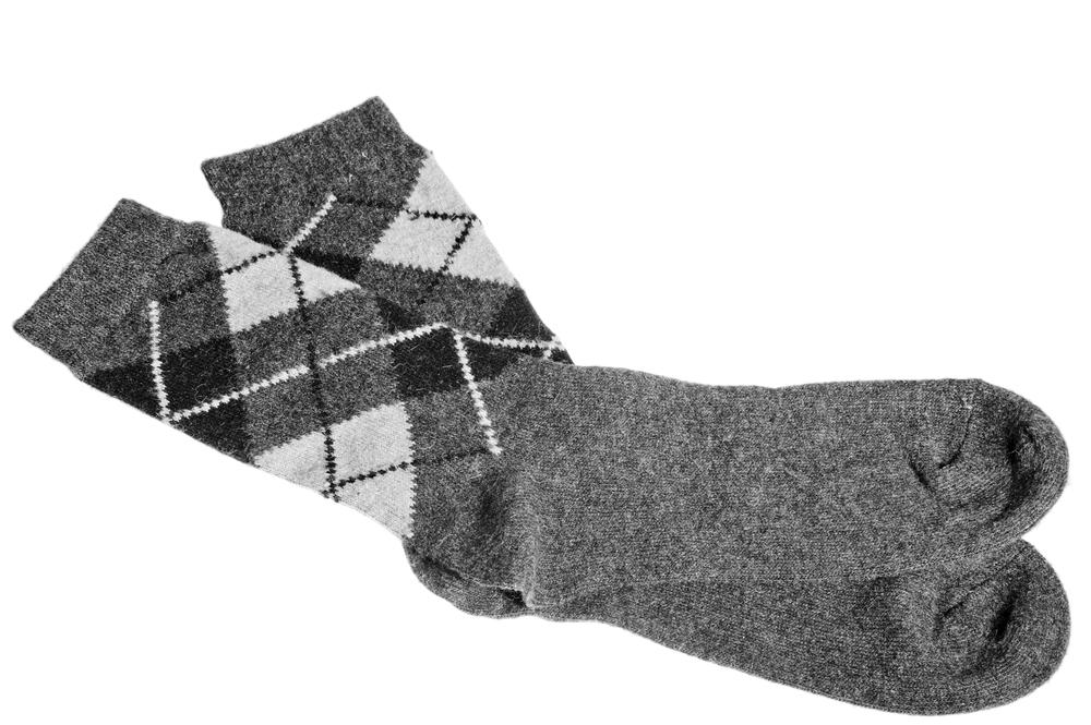 gray wool argyle socks