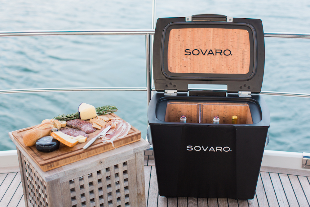 Sovaro cooler on deck with meat and cheese tray